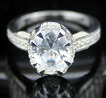 Engagement Ring Designs 4.82 Ct White Diamond Round Shape Sterling Silver Engagement